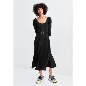 NWT Zara Size M Midi Flowy Buckle Dress